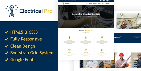 ElectricalPro - Responsive HTML5 Electrical Service Template - Business Corporate