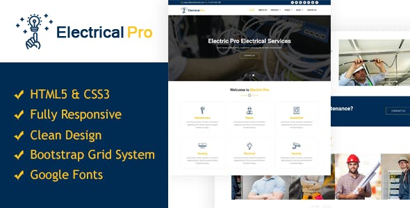 ElectricalPro - Responsive HTML5 Electrical Service Template