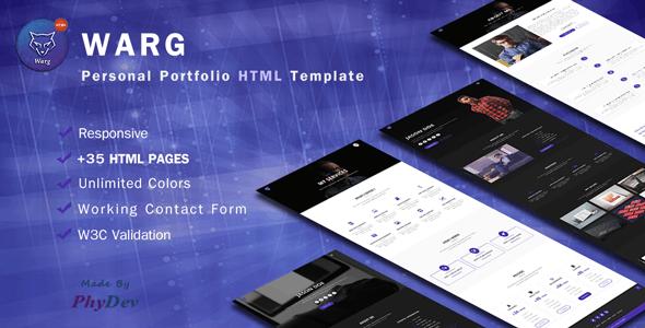 Warg - Personal Portfolio Template - Personal Site Templates