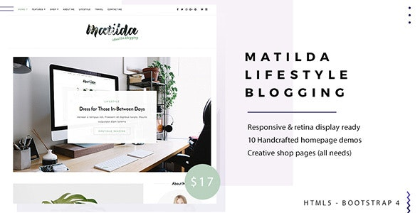 Matilda | Lifestyle Minimal Responsive HTML Blog Template - Creative Site Templates