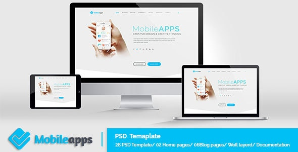 MobileApps - Landing Page - PSD Template - Creative Photoshop