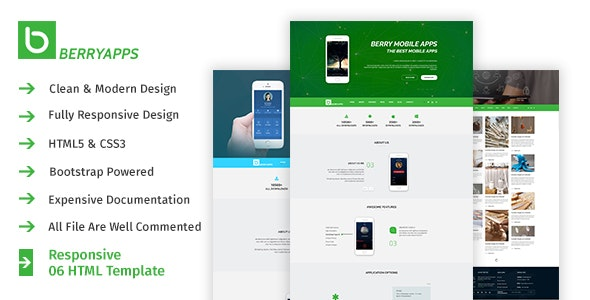 BERRYAPPS - Responsive Mobile App - HTML Template - Creative Site Templates