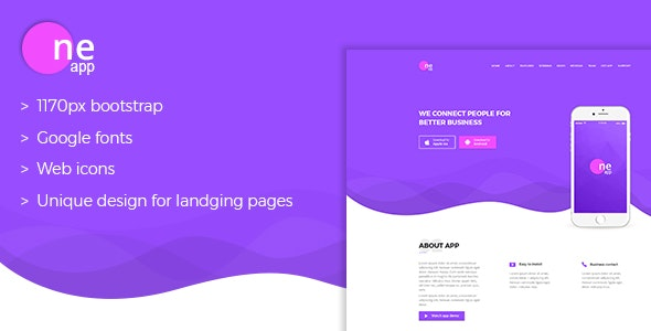 OneApp - App Landing Page - Marketing Corporate