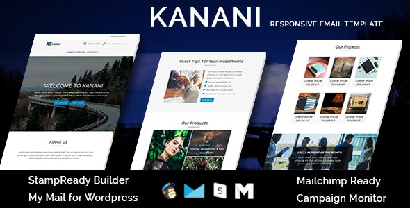 KANANI - Multipurpose Responsive Email Templates with Stamp Ready Builder Access - Newsletters Email Templates