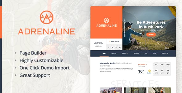 Extreme sports WordPress theme for outdoor adventure businesses - Adrenaline