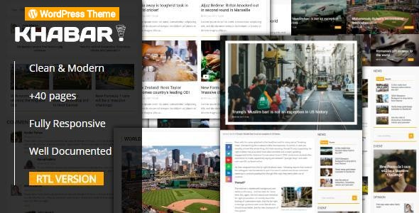 KHABAR - Responsive News Magazine WordPress Theme - News / Editorial Blog / Magazine