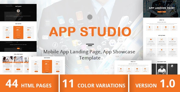 App Studio - Mobile App Landing Page, App Showcase Template - Apps Technology
