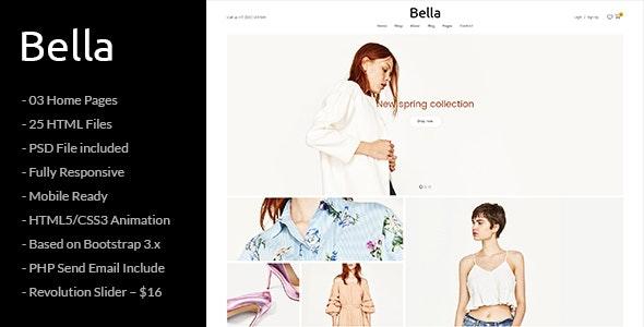 Bella - Responsive Premium Fashion eCommerce and Blog HTML5 Template - Fashion Retail
