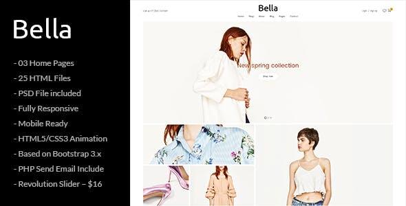 Bella - Responsive Premium Fashion eCommerce and Blog HTML5 Template
