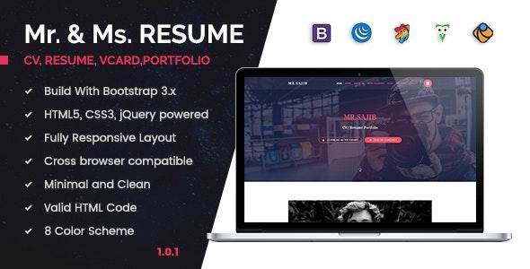 Creative Cv / Resume / Card HTML5 Template by theme-rocket