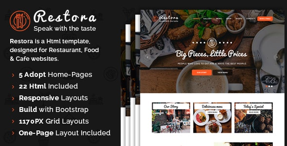Restora - Responsive HTML Template - Restaurants & Cafes Entertainment