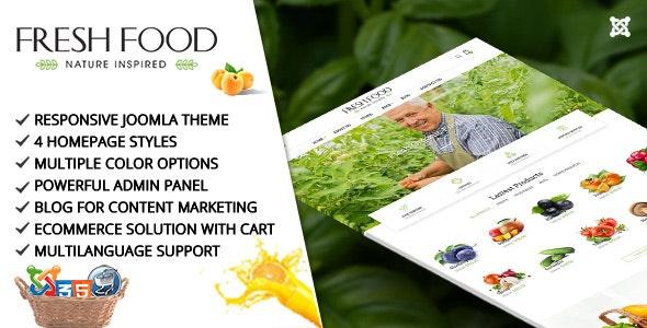 Fresh Food – Joomla Template for Organic Food/Fruit/Vegetables - Joomla CMS Themes