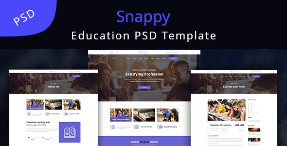 Snappy - Education Learning PSD Template - Corporate Photoshop