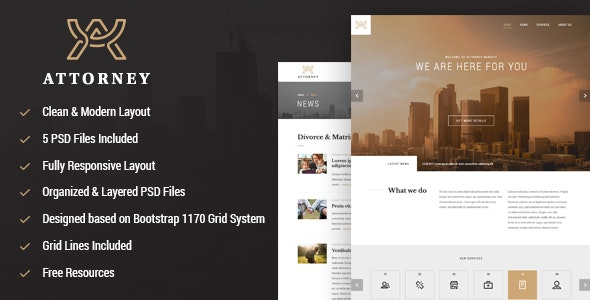 Attorney responsive PSD template - Business Corporate