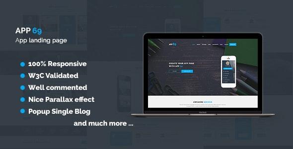 App 69 - App Landing Page HTML5 Template - Technology Site Templates