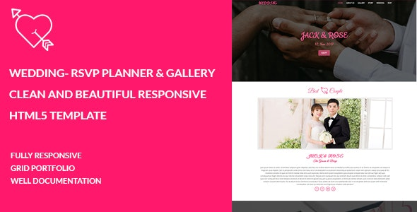 WEDDING- RSVP Planner & Gallery  Clean and Beautiful Responsive  HTML5 Template - Wedding Site Templates