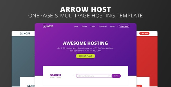 Arrow Host - One Page and Multi Page Web Hosting Template - Hosting Technology