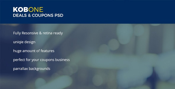 Kobone Coupons & Deals PSD Template - Marketing Corporate