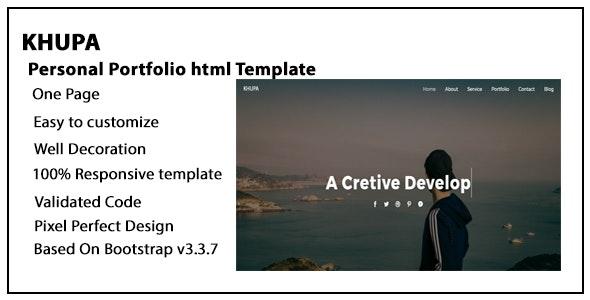 Khupa personal portfolio html template - Portfolio Creative
