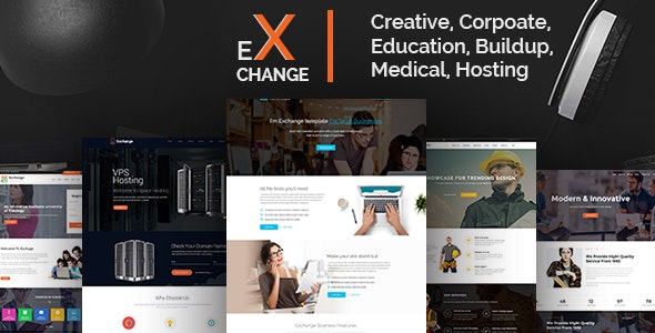 Exchange Multipurpose Landing Page Template - Corporate Site Templates