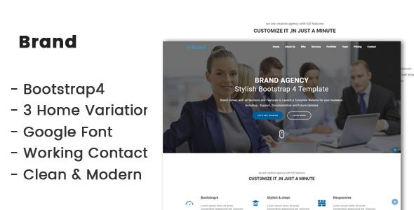 Brand-Bootstrap4 agency template - Corporate Site Templates