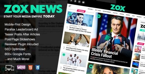 Zox News - Professional WordPress News & Magazine Theme - News / Editorial Blog / Magazine