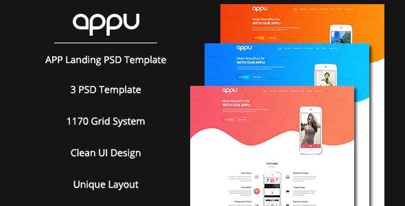 Appu App Landing PSD Template - Photoshop UI Templates