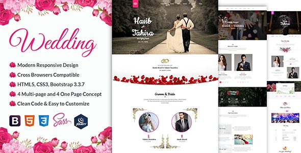 Rose - Wedding Responsive Template - Wedding Site Templates