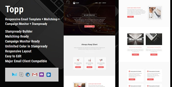 Topp - Responsive Email Template + Mailchimp + Campaign Monitor + Stampready Builder - Email Templates Marketing