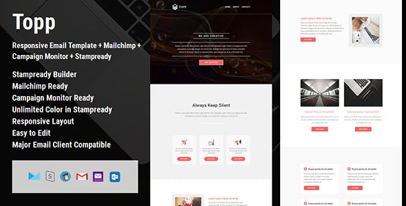 Topp - Responsive Email Template + Mailchimp + Campaign Monitor + Stampready Builder