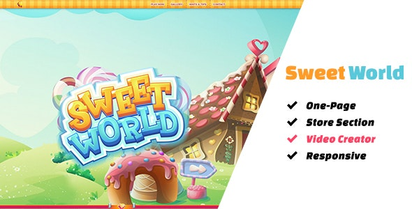 Sweet World: The Ultimate One-Page Premium Casual Gaming Template - Technology Site Templates