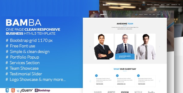 Bamba - One Page Clean Responsive Business HTML5 Template - Corporate Site Templates