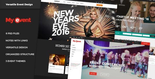 Events, Meetings, Celebrations, Venues, Conference, Expo - MyEvent PSD Bundle - Events Entertainment