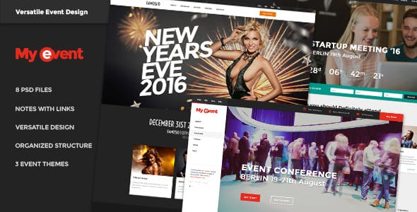 Events, Meetings, Celebrations, Venues, Conference, Expo - MyEvent PSD Bundle