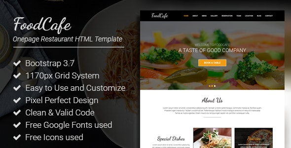 FoodCafe - Onepage Restaurant Responsive HTML Template - Site Templates