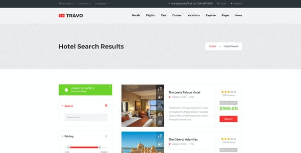 Travo - Hotel Booking & Travel PSD Template