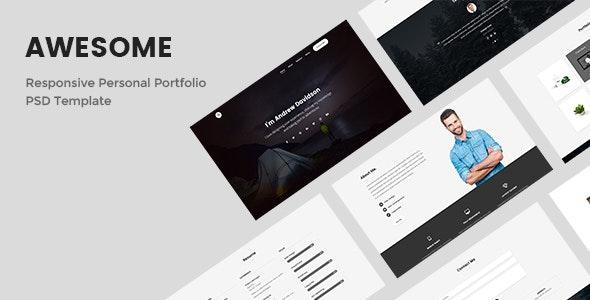 Awesome - Responsive Personal Portfolio PSD Template - Portfolio Creative