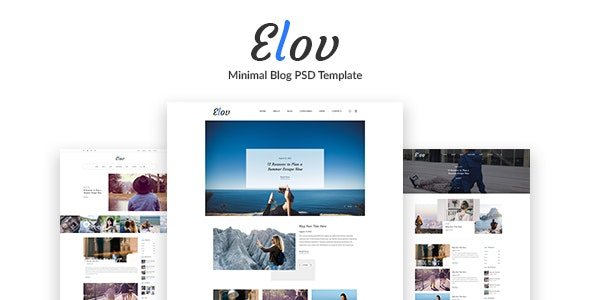Elov - Minimal Blog PSD Template - Photoshop UI Templates