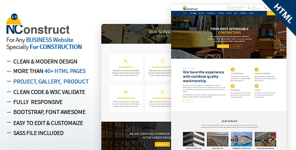NConstruct - Business Template for Construction, Building, Renovation Company - Corporate Site Templates