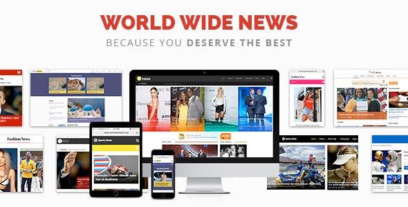 World Wide News - Magazine Responsive WordPress Theme - News / Editorial Blog / Magazine
