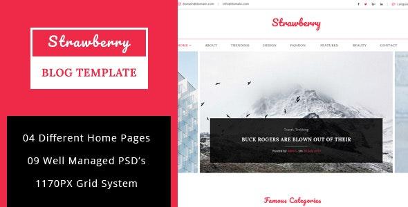Strawberry - Minimal Blog PSD Template - Personal Photoshop