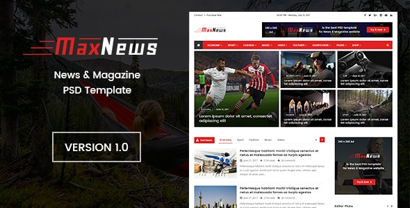 MaxNews | News & Magazine PSD Template - Photoshop UI Templates