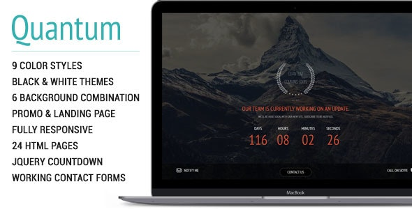 Quantum | Coming Soon Responsive Theme - Under Construction Specialty Pages