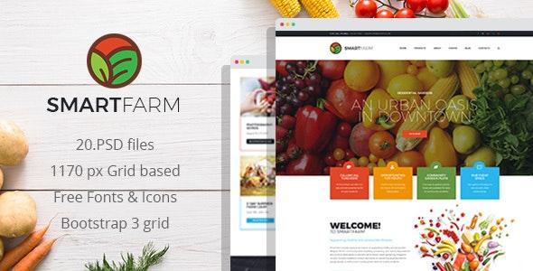 SmartFarm - Eco and Organic Gardening PSD Template - Food Retail