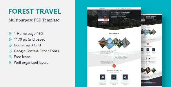 Forest Travel | Multipurpose PSD Template - Corporate Photoshop