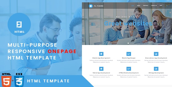 Fl -Multi-Purpose Responsive OnePage HTML Template - Corporate Site Templates