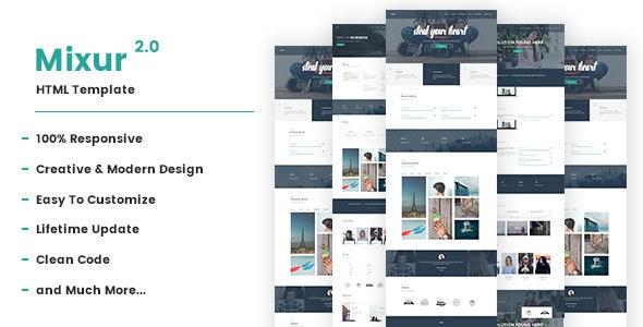 Mixur 2.0 Multipurpose Responsive HTML Template - Corporate Site Templates