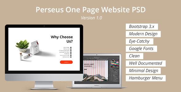 Perseus One Page Website PSD Template - Corporate Photoshop