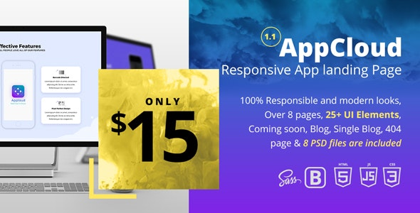 AppCloud Responsive App Landing Page - Apps Technology