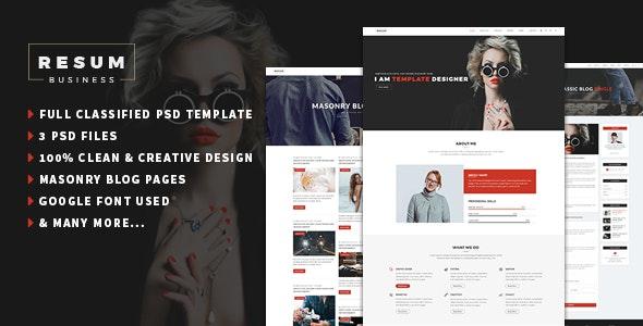 resum-Portfolio,Resume One Page PSD Template - Creative Photoshop